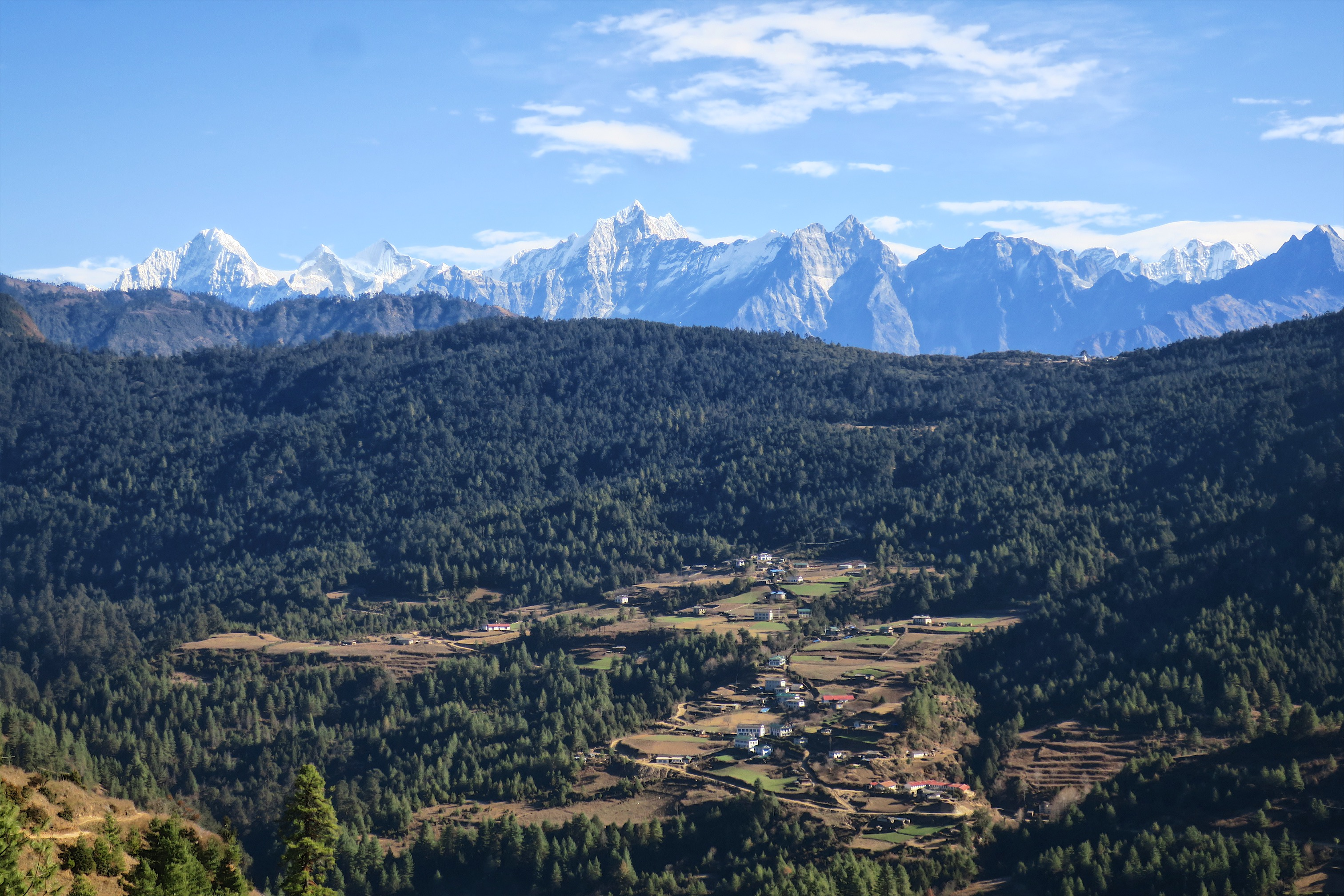 Just a picturesque mountain village surrounded by a Himalayan forest and a giant mountain range as a backdrop. No big deal.