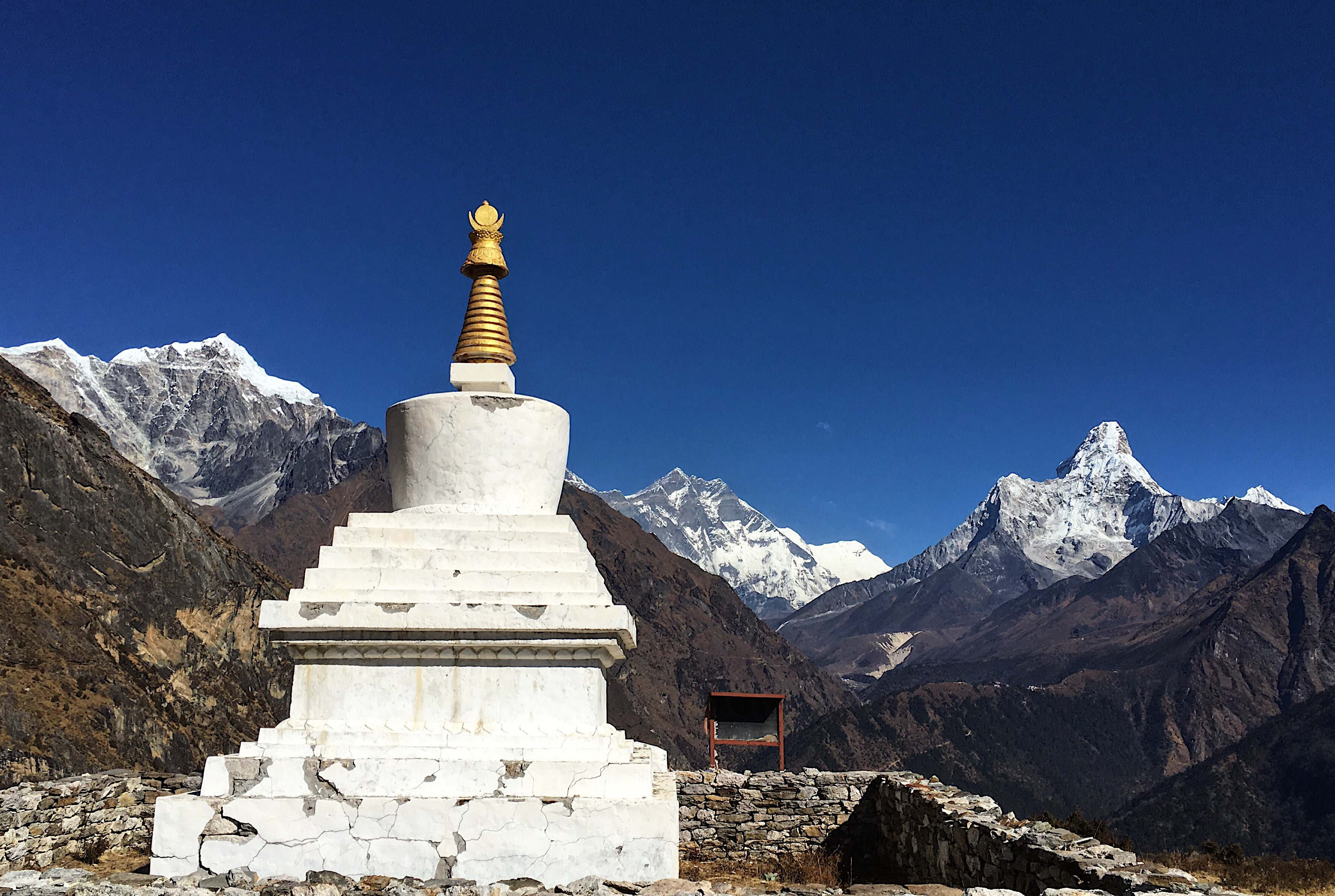 A nice side trip out of Namche is to hike to the Everest View Hotel for lunch. I found the hotel to be over priced, so I kept hiking and found this incredible stupa dedicated to Sir Edmund Hillary. The view of Everest came with it for free!