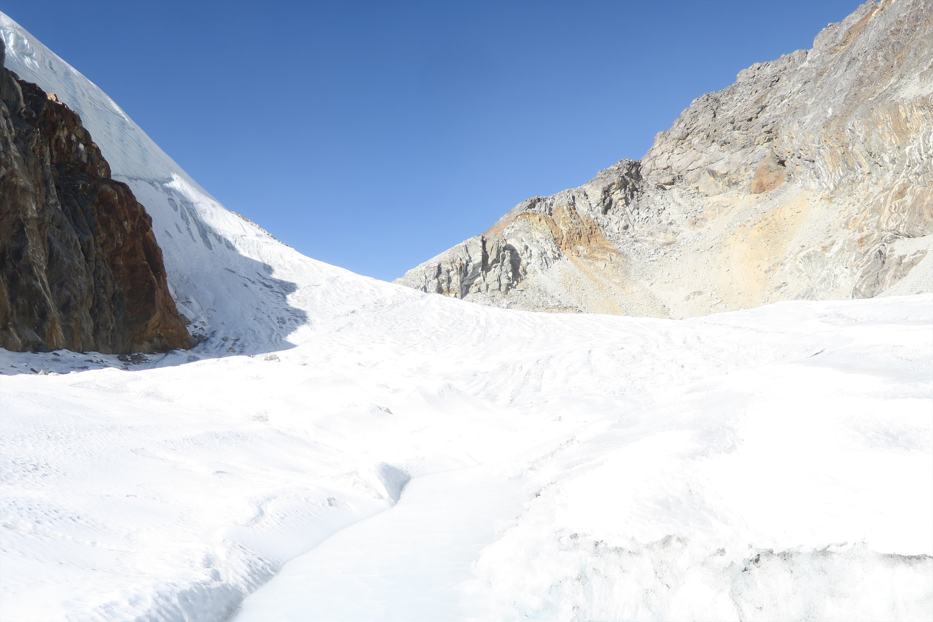 """As far as glaciers go, Cho La isn't especially challenging. But it is a glacier, and at the very least, requires """"crampons"""" (spikes that can be purchased in Namche) and a hiking buddy. A guide is recommended though, as the trail can be hard to find."""
