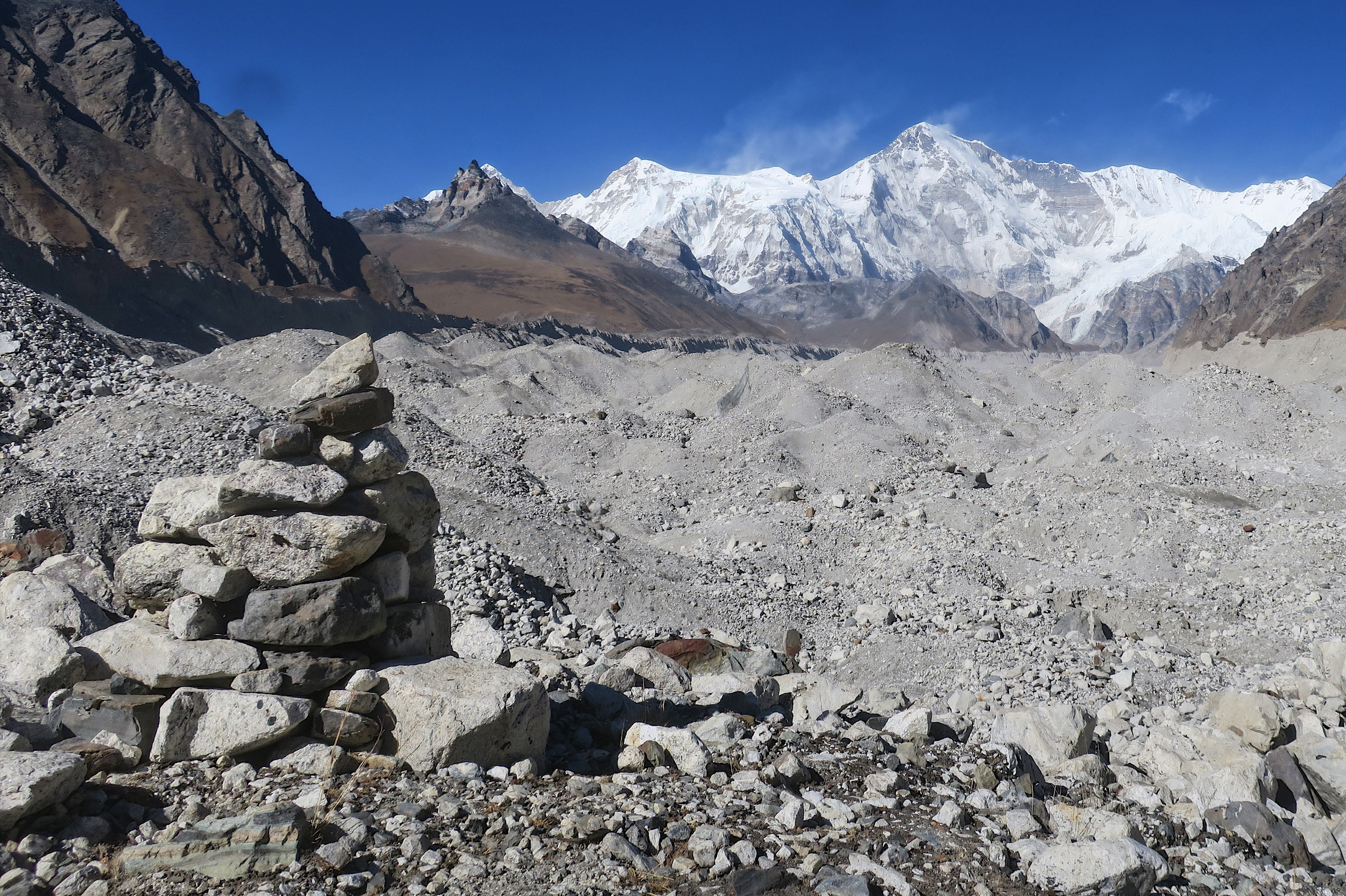 Even with the cairns, the trail across the Gokyo glacier can be tough to find.