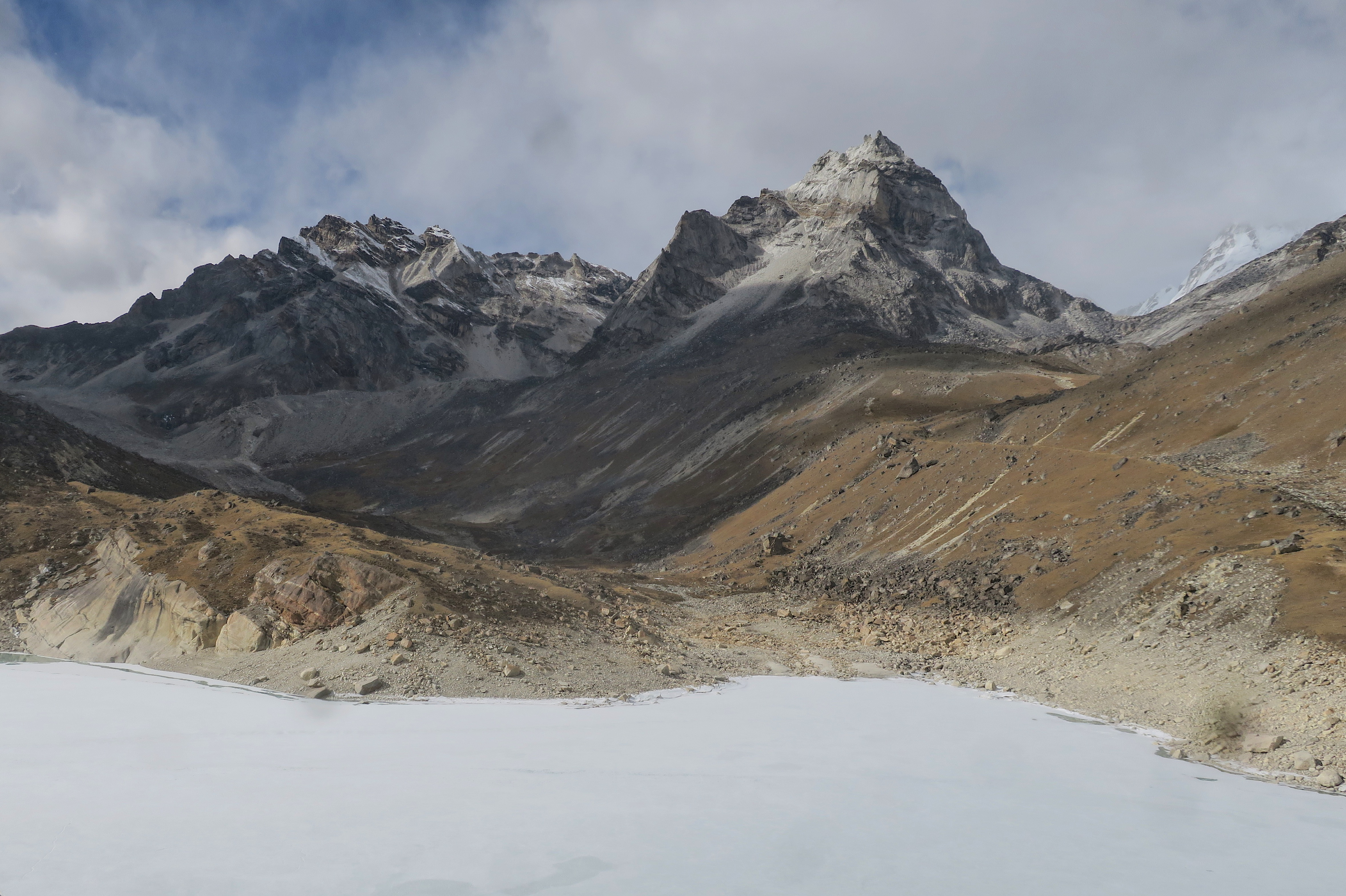 A nice break in the snow, for a glimpse at one of the Gokyo lakes.