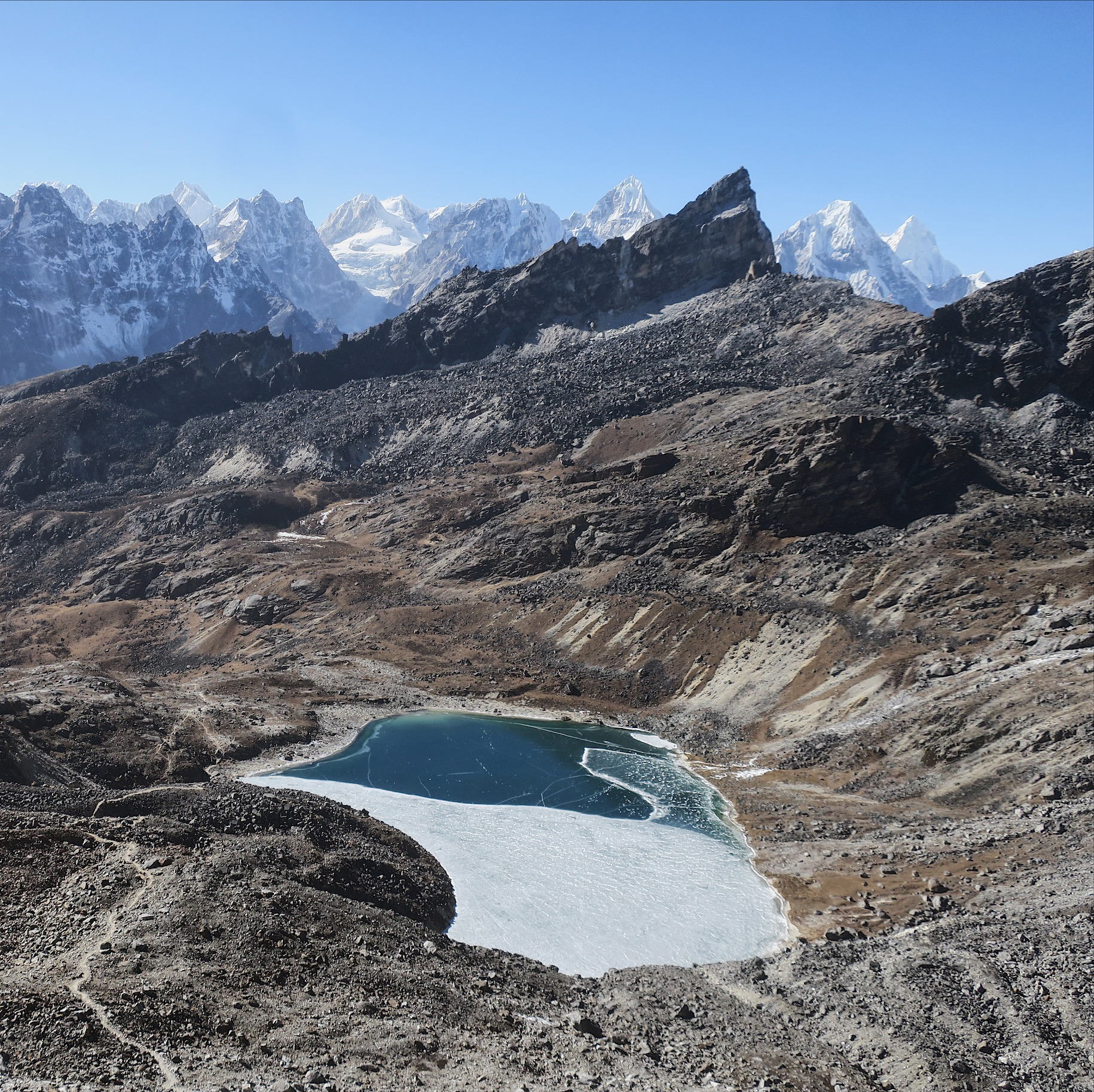 A pretty dramatic demonstration of the extreme temperature variances in the Himalaya. Also a really dope view.